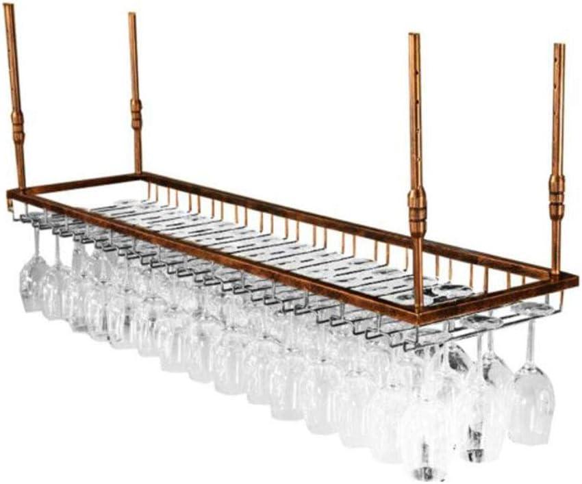 Soporte de vidrio para colgar de hierro, barra de viento simple, comedor, marco de decoración de techo de cocina, altura ajustable Bronze 120 * 35cm