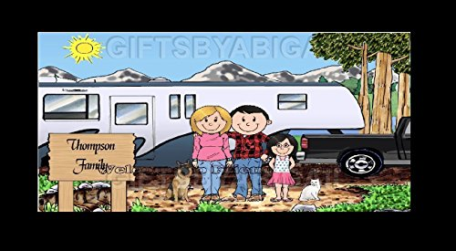 Fifth Wheel Trailer Camping Family Gift Personalized Custom Cartoon Print 8x10, 9x12 Magnet or Keychain by giftsbyabigail