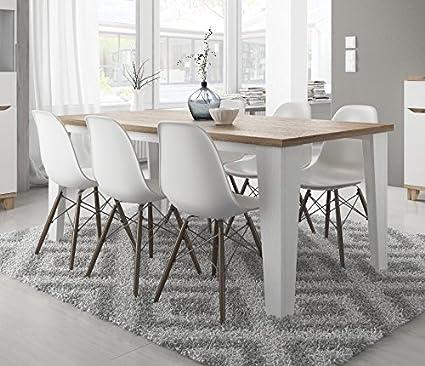 tendencio Table de Salle à Manger scandinave Lier en Bois 180 cm Blanc avec  Pied Bois