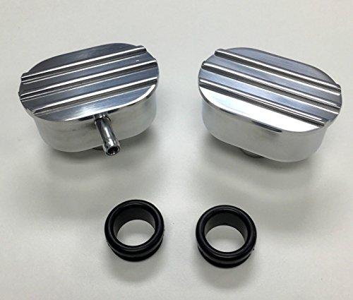 Engine Cover Finned (Hot Rod Polished Oval Finned Aluminum PCV & Valve Cover Breather Kit W/ Grommet)