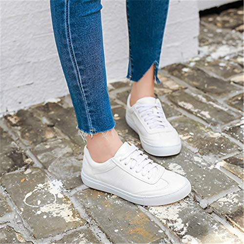 ZHZNVX Spring Mujer de White Zapatos Pigskin Comfort Blanco Sneakers qgzqr