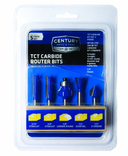Century 40100 TCT Carbide Router Bit Set, 5-Piece by Century Drill & Tool (Image #3)