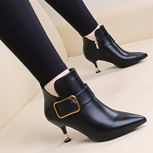 KHSKX-El Otoño Y El Invierno Moda Hembra Botas De Tacón Alto Señaló Bien Talon Martin Botas Hebilla De Cuero Cremallera Lateral Europeo Y Americano Botas Zapatos De Mujer Desnuda black