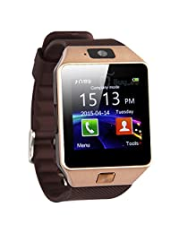 Zomtop DZ09 Bluetooth Smart Watch Wristwatch with Camera Sync to Android IOS Smart Phone Samsung S5 / Note 2 / 3 / 4,nexus 6,htc,sony,huawei and Other Android Smartphones(Golden)