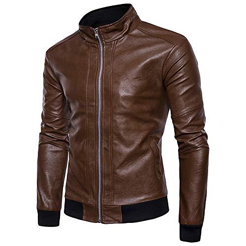 Hot Sale! Mens Fux Leather Autumn Winter Jacket Biker Motorcycle Zipper Outwear Srand Colar Coat Top