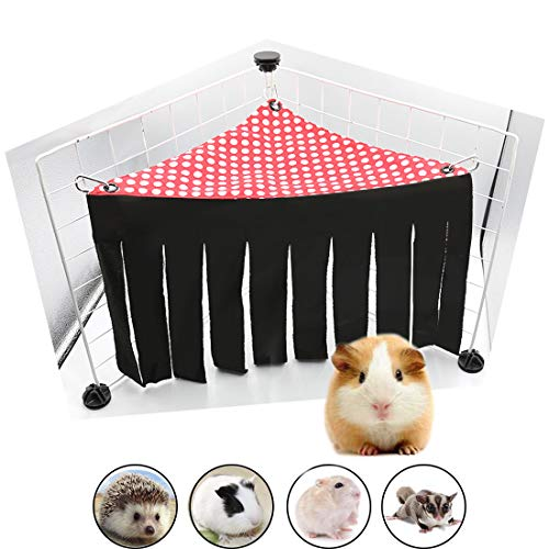 Guinea Pig Hideout Ferret Corner Fleece Forest Hideaway Hamster Hammock Sleeper Chinchilla Cage Toy House Hanging Bed for Gerbil Dwarf Rabbit Hedgehog & Other Small Animals ()