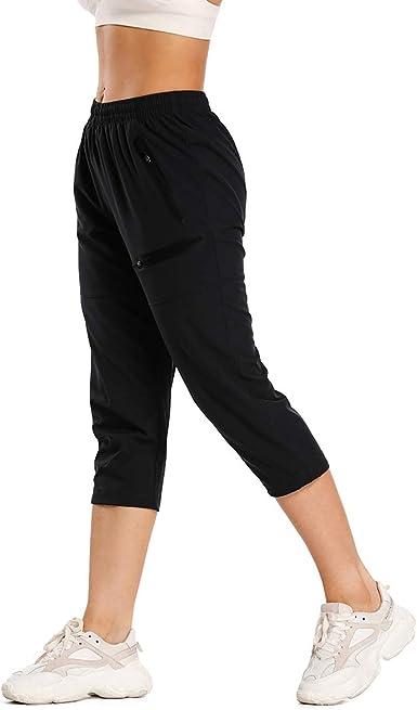 Amazon Com Leao Pantalones De Senderismo Para Mujer Secado Rapido Ligeros Resistentes Al Agua Upf 50 Bolsillos Con Cremallera Sin Costuras Clothing