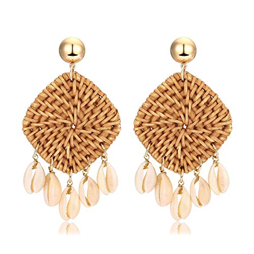 Weave Straw Double Disc Drop Earrings Boho Rattan Dangle Statement Earrings (square shell)