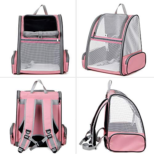 Texsens Pet Backpack Carrier for Small Cats Dogs | Ventilated Design, Safety Straps, Buckle Support, Collapsible | Designed for Travel, Hiking & Outdoor Use (PVC Mesh, Pink)