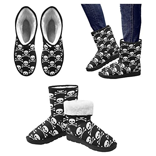 InterestPrint Womens Snow Boots Unique Designed Comfort Winter Boots Skulls Pattern Multi 1 TFzy4wpbr