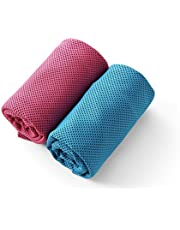 Amazon Brand: Eono Essentials 2 Pack Cool Towel for Instant Relief — Blue and Rosered