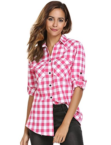 Womens Tartan Plaid Flannel Weastern Shirts, Juniors Boyfriend Long Sleeve Gingham Checkered Cotton Shirt (Dark Pink Gingham)