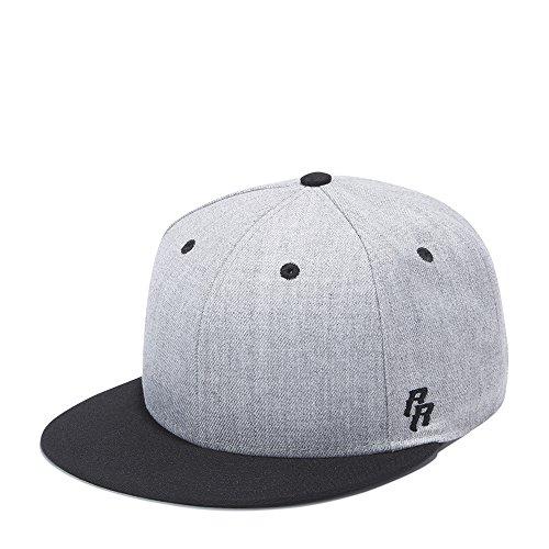 Holly Flat Cards - Riorex Flat Visor Snapback hat Blank Cap Baseball Cap for Men Adjustable-5 Colors 1804B012 (Gray-Black)