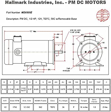 56C 3//4 hp Hallmark Industries MD0507A DC Motor 1800 RPM 90VDC TEFC with Foot