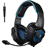 fps for psp - SADES SA-807 PlayStation 4 Pro Xbox One S Stereo Headset Over-Ear Gaming Headphones with Microphone for PC PS4 iPad Mobile Tablet Mac (Black & Blue)
