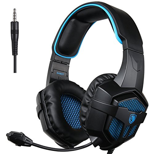 51ta5v7dT7L - SADES SA-807 PlayStation 4 Pro Xbox One S Stereo Headset Over-Ear Gaming Headphones with Microphone for PC PS4 iPad Mobile Tablet Mac (Black & Blue)