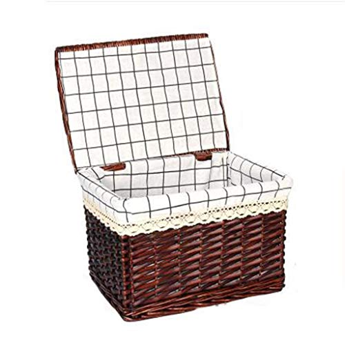 ZHJ-Storage Box Caja De Almacenamiento Retro Color Beige Caja De Almacenamiento Canasta Tejida De Mimbre Caja Plana Acabado...