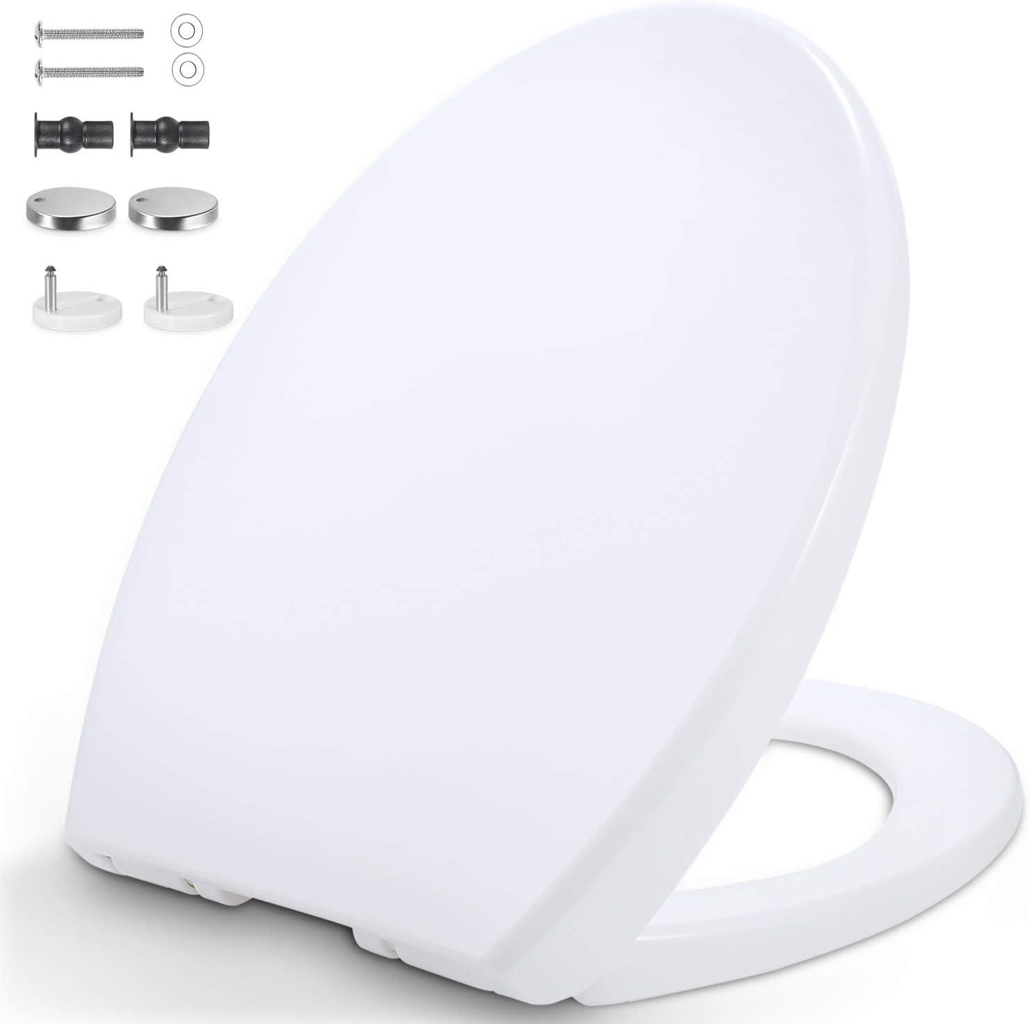 Tapa WC, Forma de O Universal Asiento para Inodoro con Cierre Suave y Desmontaje Rápido, Fácil de Instalación y Limpieza, Standard Blanco Tapas Inodoro WC, Polipropileno