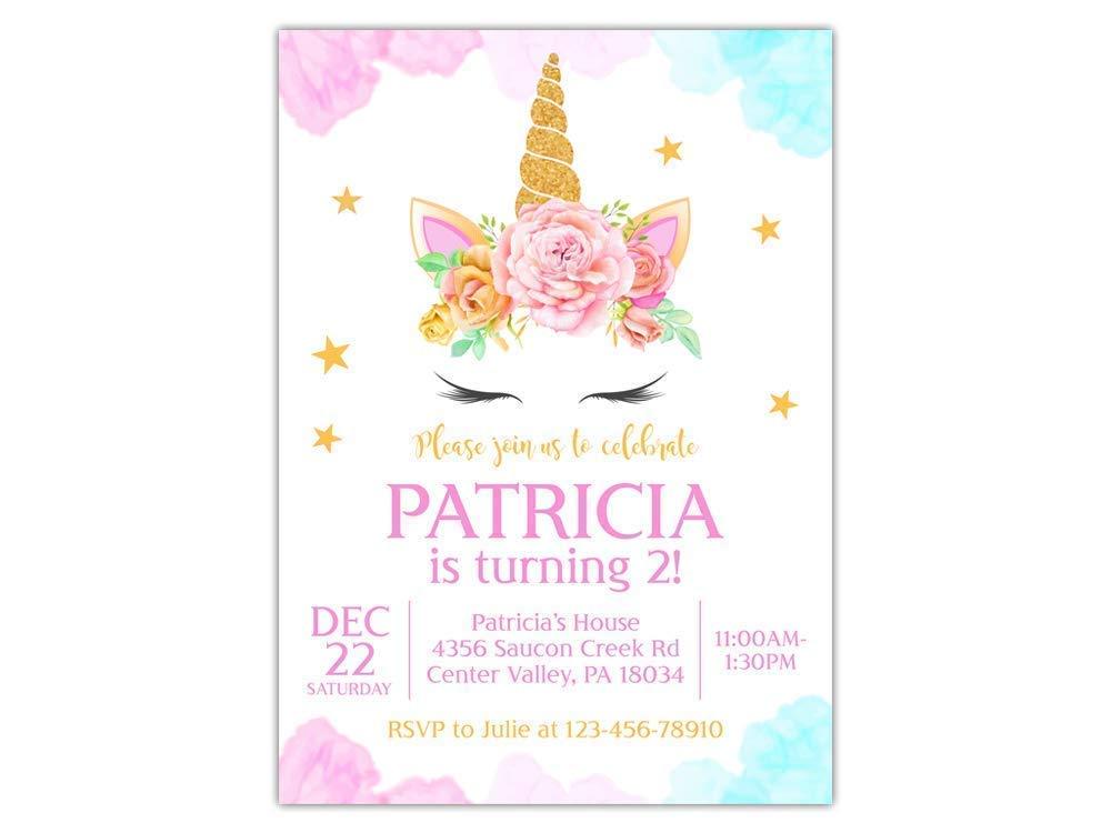 Amazon.com: Personalised Unicorn Birthday Party Invitations ...