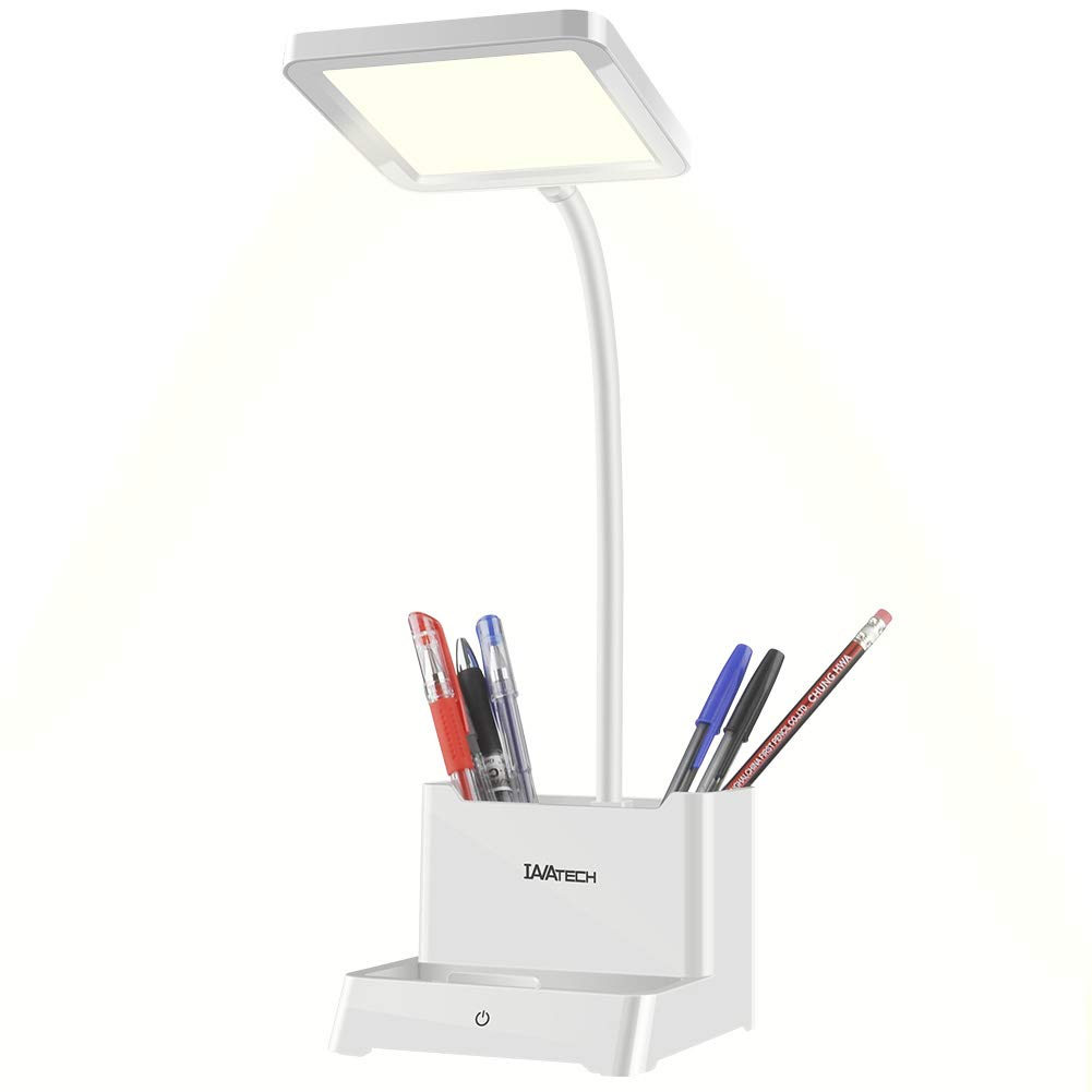 LED Desk Lamp with USB Charging Port, Flicker Free Eye Caring Stepless Dimming, Touch Sensitive Control and Memory Function, Flexible Gooseneck, for Office, Study, Kids, Reading Warm White