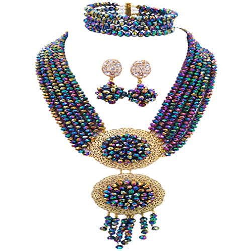 acuzv 6 Rows African Necklaces for Women Nigerian Beads Jewelry Set Wedding Bridal Party Jewelry Sets (Multicolors - Woman Hot African