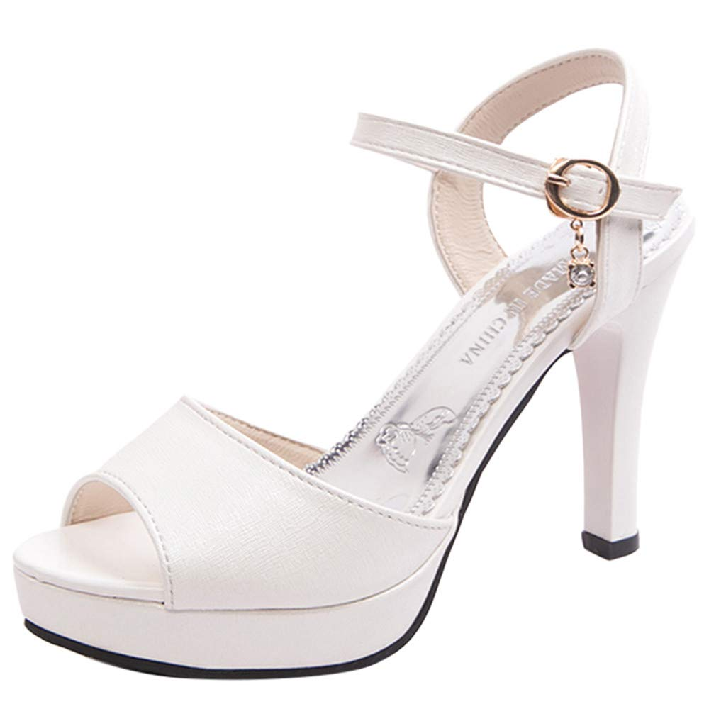 Women Open Toe Sandals Buckle Strap High Heels Casual Dress Prom Party Stiletto Shoes (36, White)
