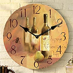 Vintage Rustic Style Romantic Wine Bottle Wooden 34cm Wall Clock Shabby Chic