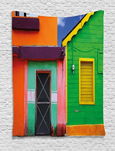 Lunarable Mexican Tapestry, Caribbean Houses in Vibrant Color Scheme in Isla Mujeres Mexico Latin America Photo, Wall Hanging for Bedroom Living Room Dorm Decor, 40