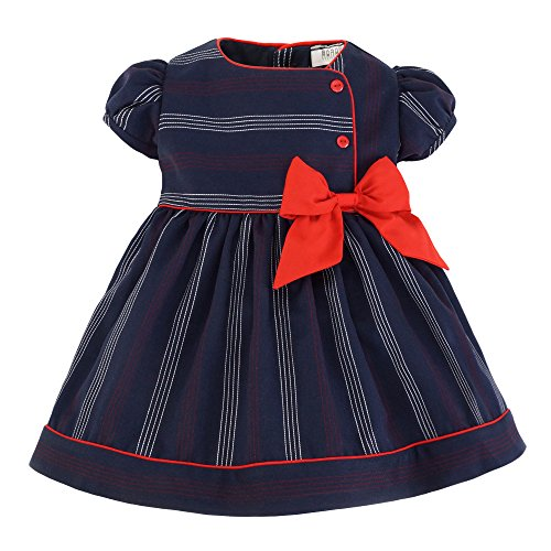 Marakitas Toddler & Girl Party Special Occasion Short Sleeve Summer Sailor Dress Navy Blue (Blue with White & Red Stripes, 2T)