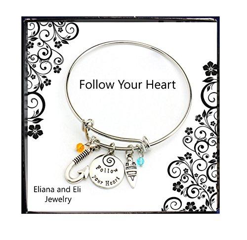 Disney Moana Maui Charm Bracelet Costume Jewelry -Moana Bangle Follow Your Heart Hand Stamped Letter Pendant with Fish Hook/Sailing Boat Charms Adjusted Bangle (Sailing Boat Costume)