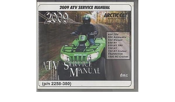 2009 arctic cat 400 500 550 700 1000 atv repair manual