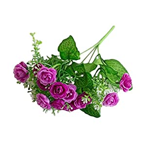 dezirZJjx Artificial Flowers 1 Pc/13 Buds Artificial Rose Flowers Grass Wedding Party Office Home Decoration - Purple 12