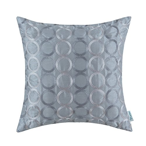 - CaliTime Faux Silk Throw Pillow Cover Case for Couch Sofa Home Decor Two-tone Circles Rings Geometric Chain Embroidered 18 X 18 Inches Gray