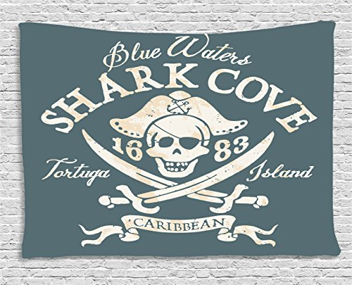 Pirate Tapestry by Ambesonne, Shark Cove Tortuga Island Caribbean Waters Retro Jolly Roger, Wall Hanging for Bedroom Living Room Dorm, 80 W X 60 L Inches, Slate Blue White Light Mustard 80 Tortuga Art