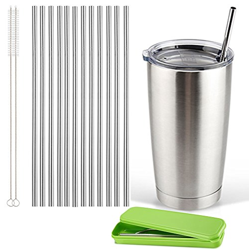 Accmor 18/8 Stainless Steel Straws, Reusable Metal Drinking Straws - 12 Straight Straws with 2 Cleaning Brushes & Storage Box - Great for 20OZ Yeti RTIC Tumbler Rambler - Indestructible Most Metal