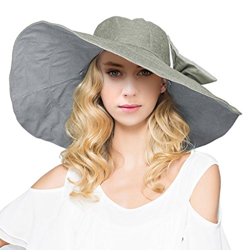 Women's Reversible Foldable Wide Brim Sun Hat with Bowknot UPF 50+, Light Grey (Reversible Hat)