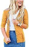Steven McQueen Women's S-3XL Solid Button Front Knitwears 3/4 Sleeve Casual Cardigans Mustard XL