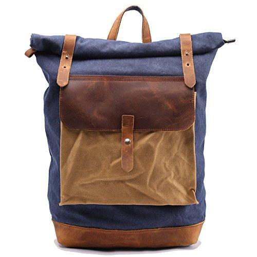 Morenjoy life Casua dell'annata cerato Canvas Backpack zaino Bookbag Satchel escursionismo borsa 28 litri viaggio zaino zainetto (bene-organizzato, grande capacità e multi-protezione)
