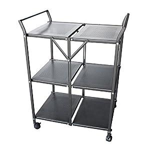 homycasa metal 3 tier folding serving cart on wheels serving carts. Black Bedroom Furniture Sets. Home Design Ideas