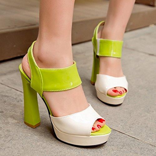 COOLCEPT Mujer Elegant Peep Toe Tacon Ancho Sandalias Slingback Tacon Alto Fiesta Zapatos Verde