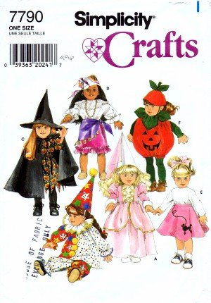 [Simplicity 7790 Crafts Sewing Pattern Doll Clothes Costumes] (Make Poodle Skirt Costumes)