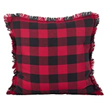 1 Piece 20x20 Red Black Plaid Throw PIllow, Checked Tartan Madras Lumberjack Rugby Themed Chic Checkered Cabin Lodge Lake House Pillows Checker Hoirzontal Vertical Vintage Pattern Madras,Cotton
