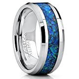 Metal Masters Co.® 8MM Tungsten Carbide Wedding Band Ring With Blue Green Simulated Opal Inlay 8MM