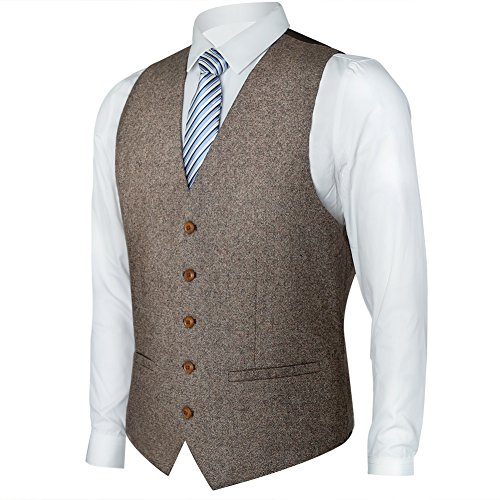 Mens Brown Tweed - Zicac Men's Unique Advanced Custom Tweed Vest Skinny Wedding Dress Vest (L, Tweed Brown)