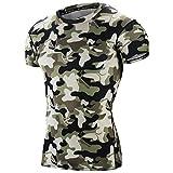 EU Men's Compression Shirt Running Base Layer Short Sleeve Tops Camo Green Medium