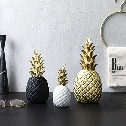 3PCS超かわいいクリスタルパイナップル置物像、完璧な樹脂の職人技、リアルなシミュレーション効果、装飾的な彫像動物コレクション、金、黒、白