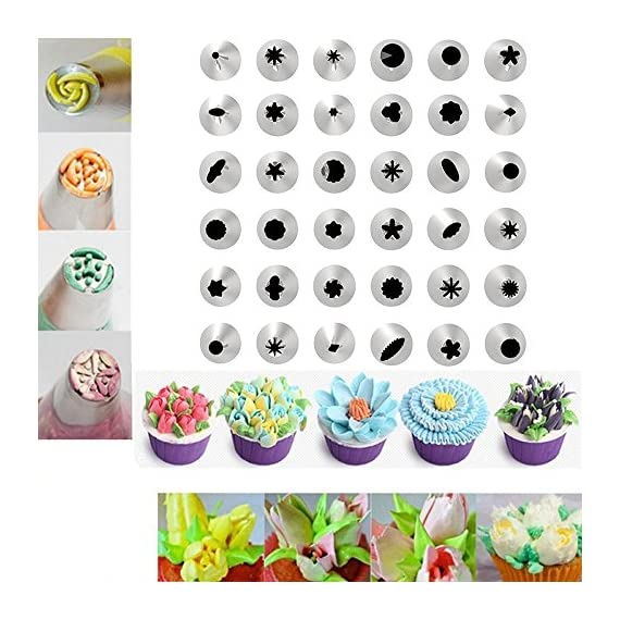 Cake Decorating supplies, Cake Decorating Kit with 36 Icing Tips, 2 Silicone Pastry Bags, 2 Flower Nails, 2 Reusable Plastic Couplers Baking Supplies Frosting Tools Set for Cupcakes Cookies 2 Cake Decorating Supplies Kits: 36 stainless steel icing tips, 2 reusable silicone pastry bag, 2 reusable plastic couplers, 2 flower nails, with which you can create all types of patterns on cake, cupcakes. Decorating Patterns: 11 open star tips, 7 closed star tips, 3 french tips, 3 round tips, 2 plain tips, 4 leaf tips, 3 rose petal tips, 3 special tips. 0.7 inch in diameter, 1.26 inch tall. Premium Baking Supplies Frosting Tool: Strong, durable, stainless steel, corrosion resistant, reusable, non-stick, tasteless & non-toxic, FDA and LFGB approved, easy to clean and dishwasher safe.