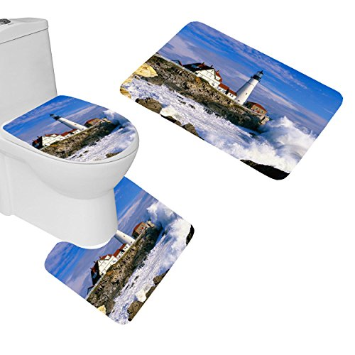 oFloral 3 Pieces Bathroom Rugs Set Home Decorative Lighthouse Bath Mat,One Contour Rug and One Toilet Lid Cover