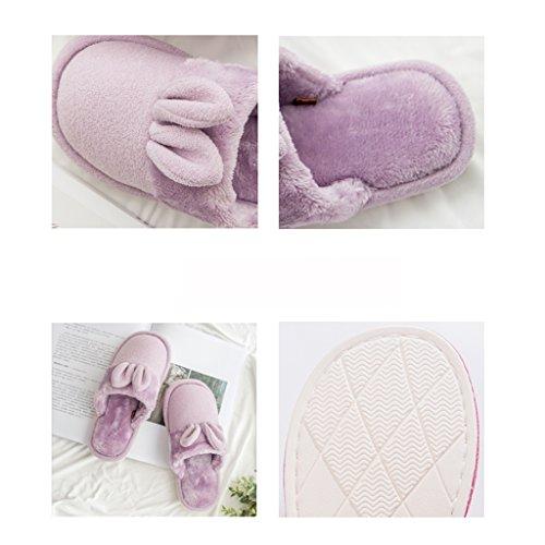 Hausschuhe Baumwolle Weibliche Winter Hause Warme Rutschfeste saugfähigen Atmungsaktive Bequeme Schuhe Lila