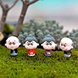 Cheap Danmu 2 Pairs Mini PVC Grandparents Statue Miniature Plant Pots Bonsai Craft Micro Landscape DIY Decor